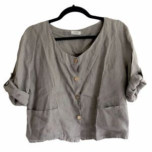 PURE VENICE Button Front Linen Top Roll Sleeves L